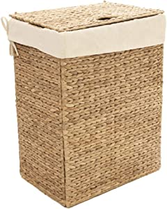 Seville Classics Handwoven Lidded Removable Washable Canvas Liner Portable Laundry Hamper Bin, Rectangular, Water Hyacinth