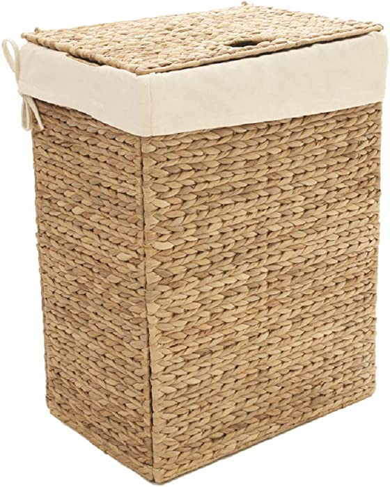 Seville Classics Handwoven Lidded Removable Washable Canvas Liner Portable Laundry Hamper Bin, Rectangular, Water Hyacinth