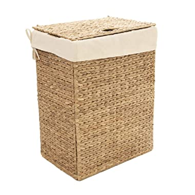 Seville Classics Foldable Water Hyacinth Portable Laundry Hamper, Basket
