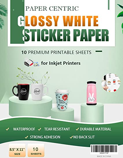 Paper Centric, papel adhesivo blanco brillante, resistente al agua ...
