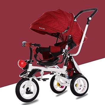 ZhiGe Silla de Paseo Cochecito de bebé de la Bici Plegable Cuatro-en-uno del Triciclo de los niños: Amazon.es: Hogar
