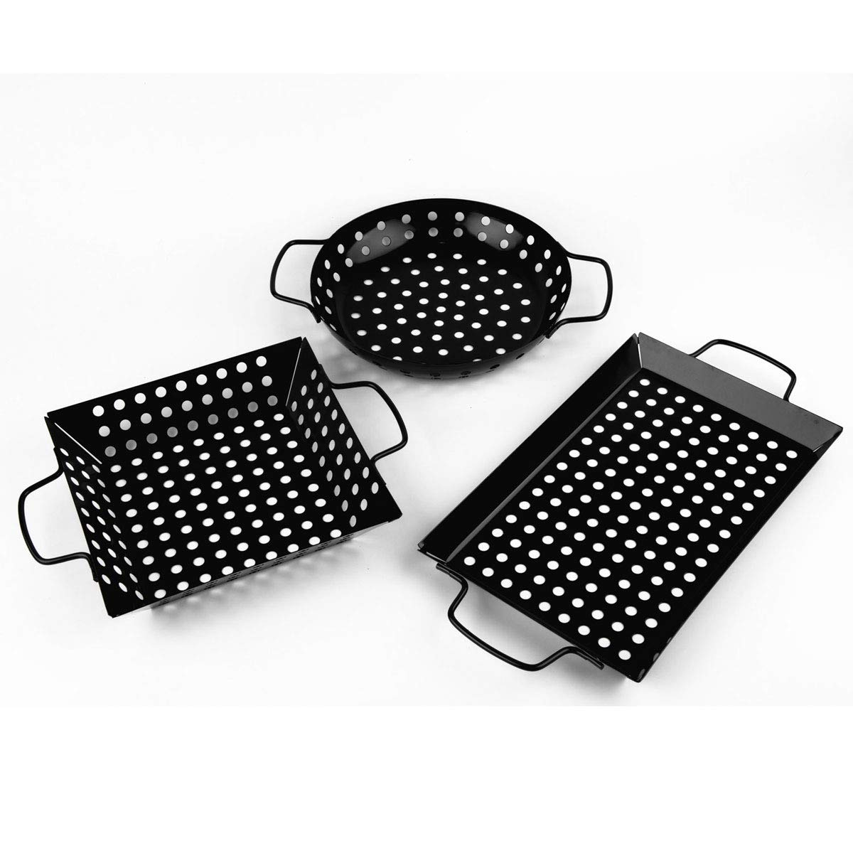waykea Non-Stick Grill Basket Set, 3-Piece BBQ Accessory Set Wok Pan Grill Vegetable by waykea