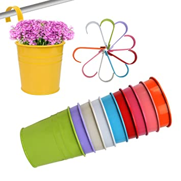 Qumao Lot 10pcs Pots De Fleurs Suspendu Colores En Metal Accroche