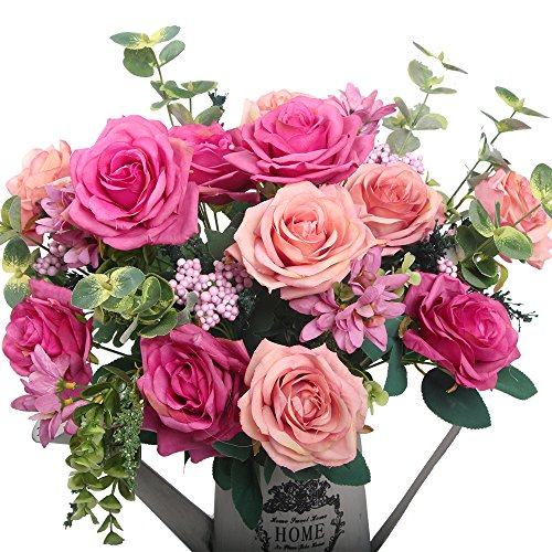Artificial flowers, European artificial roses, silk rose for decorating, silk flower for wedding, a bunch/pack (Pink)