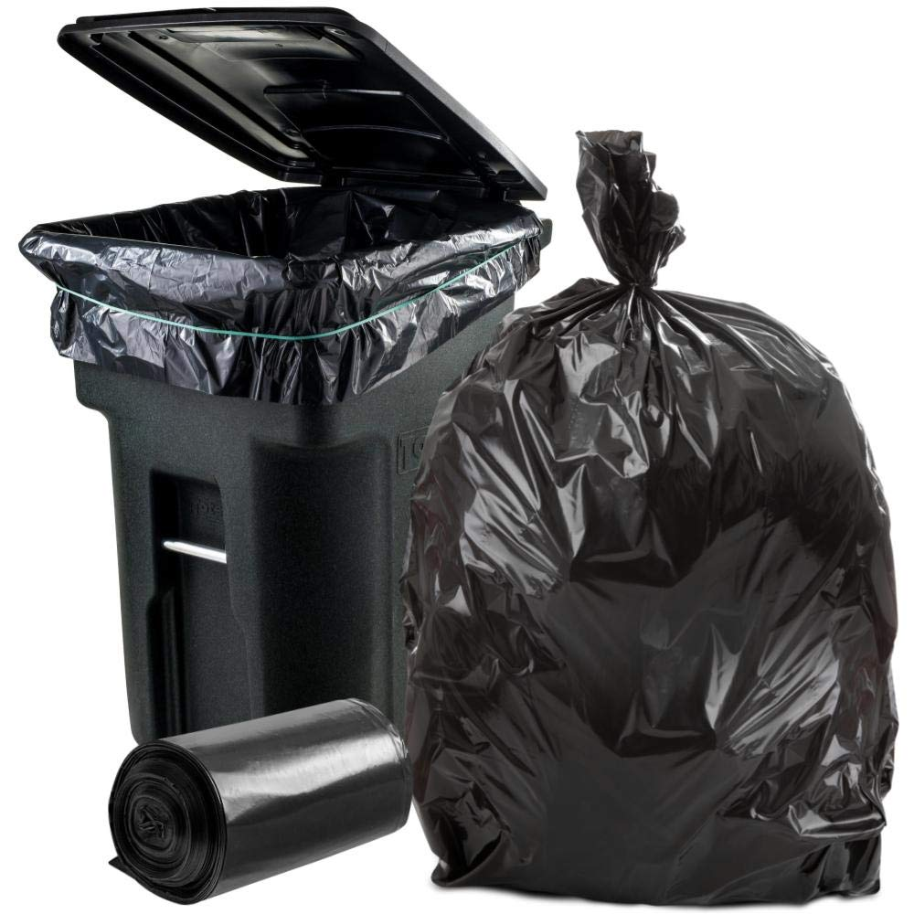 Plasticplace 95-96 Gallon Garbage Can Liners │ 1.2 Mil │ Black Heavy Duty Trash Bags │ Rolls │ 61'' x 68'' (50 Count) by Plasticplace