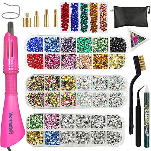 Hotfix Applicator, Hotfix Rhinestones Setter Wand Tool, Hot fixed Bedazzler Kit, 4560 Pcs, AB Crystal, Rainbow, Clear, Colors, Tips, Manual, Tweezers, Tray, Gem Picker, Brush, Stand, Bag, 3 Jewel Size