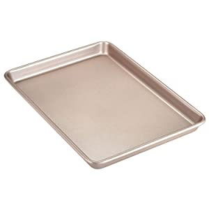 "CHEFMADE 13-Inch Rimmed Baking, Non-Stick Carbon Steel Cookie Sheet Pan, FDA Approved for Oven Roasting Meat Bread Jelly Roll Battenberg Pizzas Pastries 13"" x 9"" (Champagne Gold)"