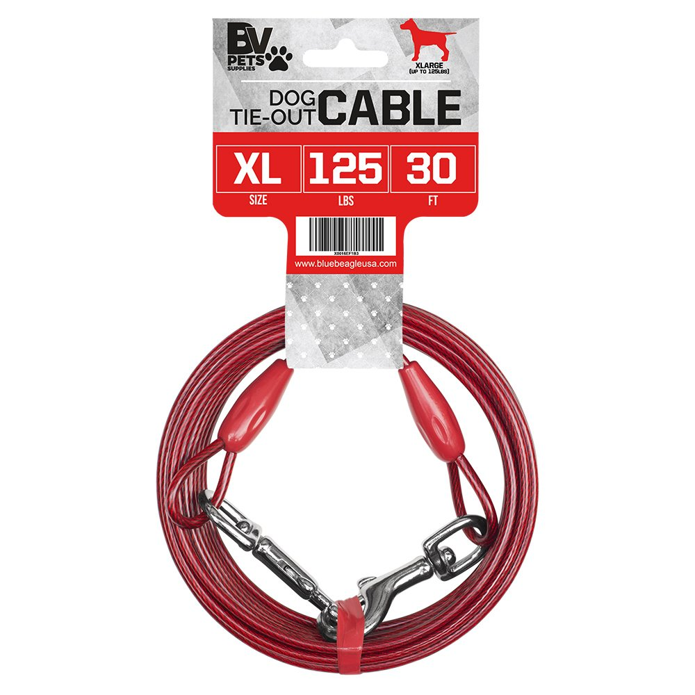 BV Pet Heavy Extra-Large Tie Out Cable Dogs up to 125 Pound, 30-Feet by BV