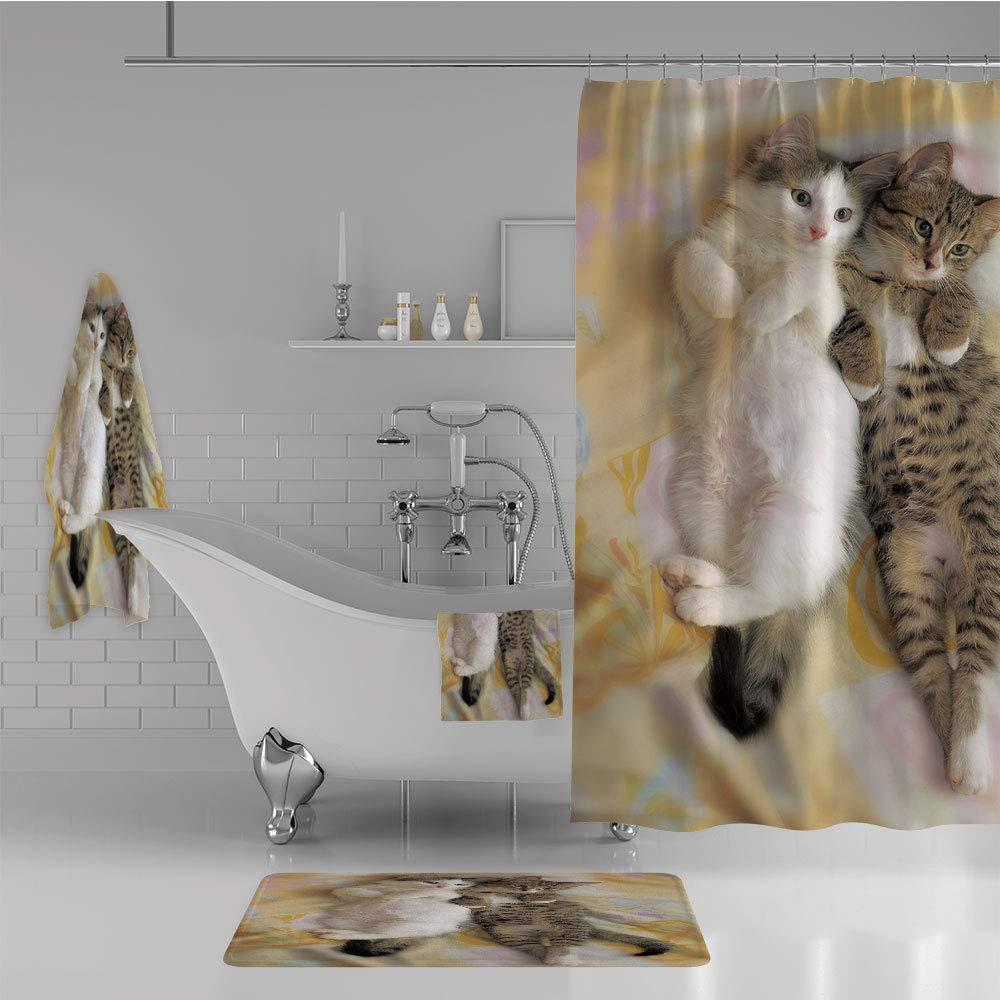 iPrint Bathroom 4 Piece Set Shower Curtain Floor mat Bath Towel 3D Print,Sleepy Heads Cat Pet Animal Lovers Best Friends,Fashion Personality Customization adds Color to Your Bathroom.