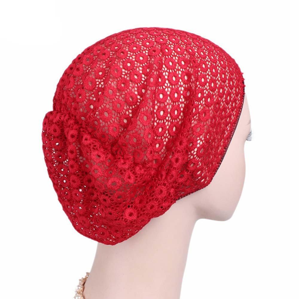 Londony ♥ Newest Hats & Caps, Women's Lace Cotton Beanie Lightweight Muslim Turban Slouchy Beanie Hat Cap Londony007