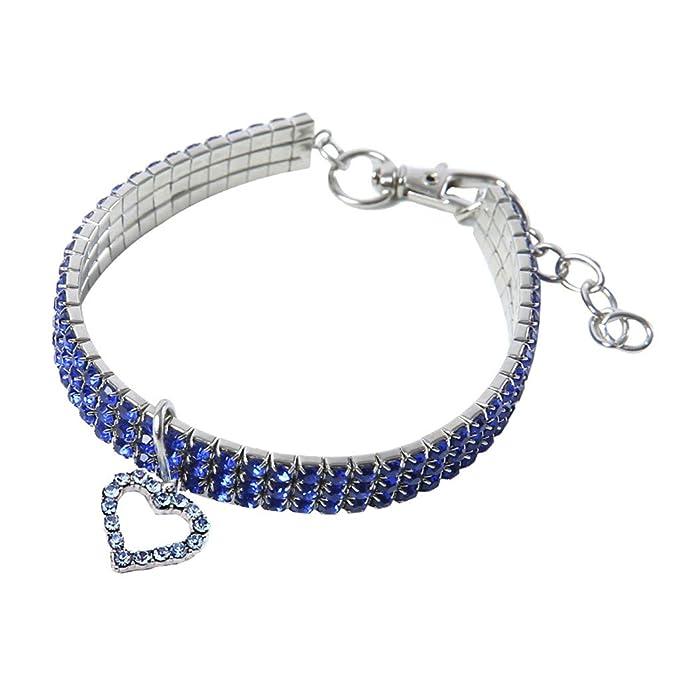 zarupeng✦‿✦ Mini Collar del Perro de Mascota del Gato Bling Rhinestone Gargantilla Collares de Lujo en Forma de corazón: Amazon.es: Ropa y accesorios