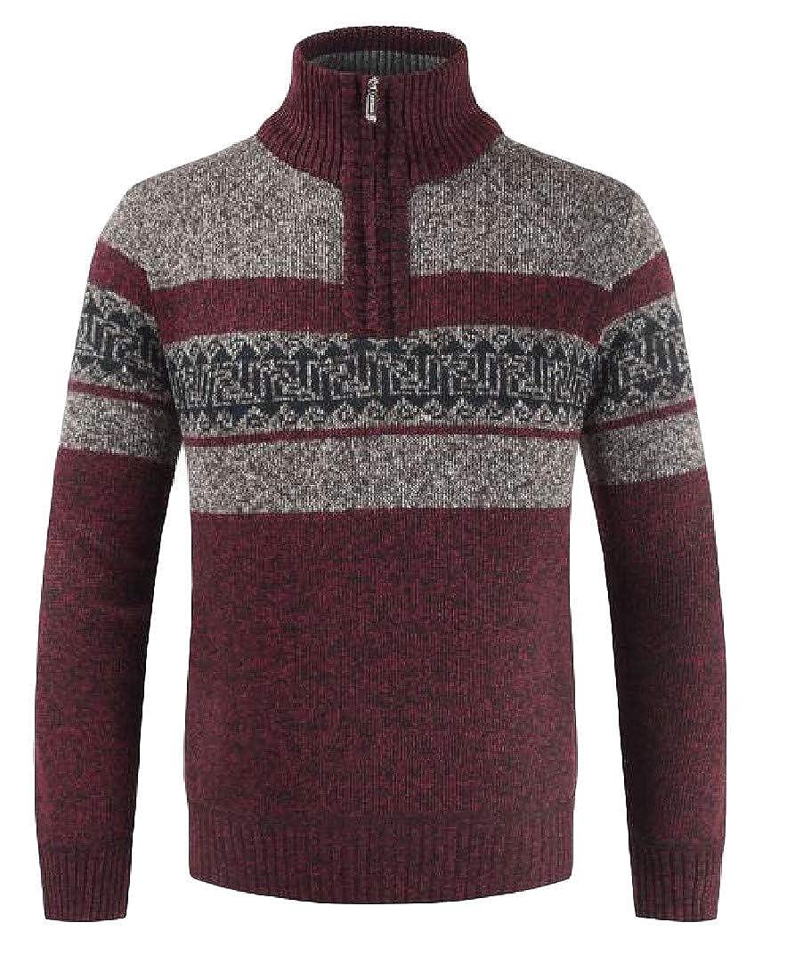 Blyent Men Fleece Contrast Color Zip Stand Collar Vintage Thicken Knitted Pullover Sweatshirts