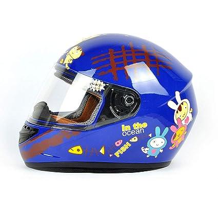 ZXW Casco- Casco para niños Bicicleta eléctrica Dibujos Animados Unisex Full Face Casco (Color