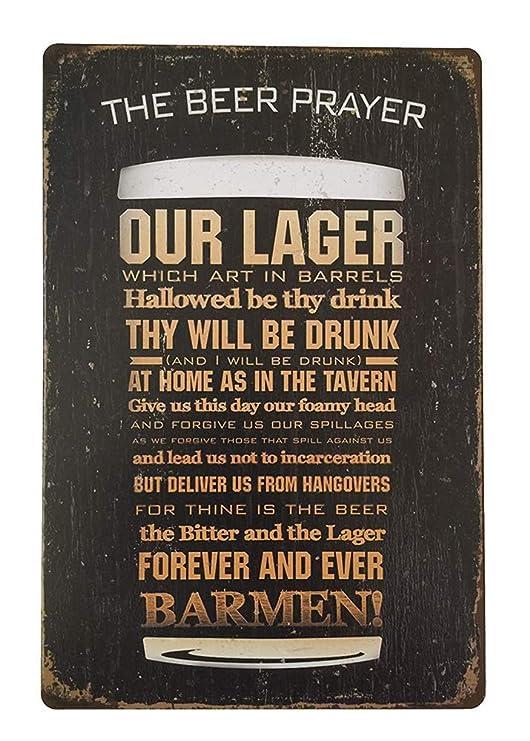 Shunry The Beer Prayer Placa Cartel Vintage Estaño Signo ...