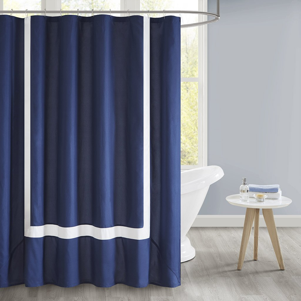 Amazon.com: 510 Design Carroll Pieced Border Shower Curtain with ...