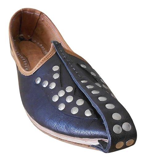 Kalra Creations - Zapatillas de estar por casa de piel auténtica para hombre, color marrón, talla 41.5 EU