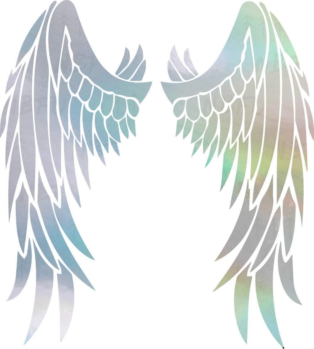 NBFU DECALS Guardian Angel Wings Lovely Reflective Tribal 1 (Hologram) (Set of 2) Premium Waterproof Vinyl Decal Stickers for Laptop Phone Accessory Helmet Car Window Bumper Mug Tuber Cup Door Wall