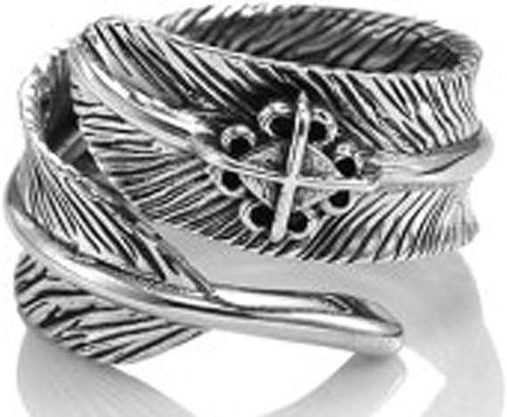 LIMUZHI 925 Sterlingsilber-Feder-Ring, Männer und Frauen