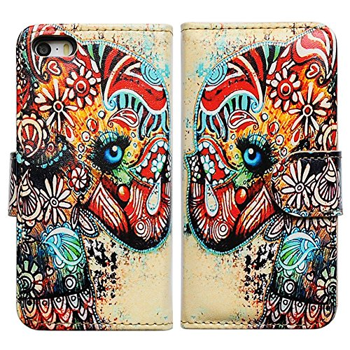 Tribal Elephant T-light Holder (Bfun Packing Tribal Floral Elephant Flower Card Slot Wallet Leather Cover Case For Apple iPhone 5C AT&T Verizon Sprint)