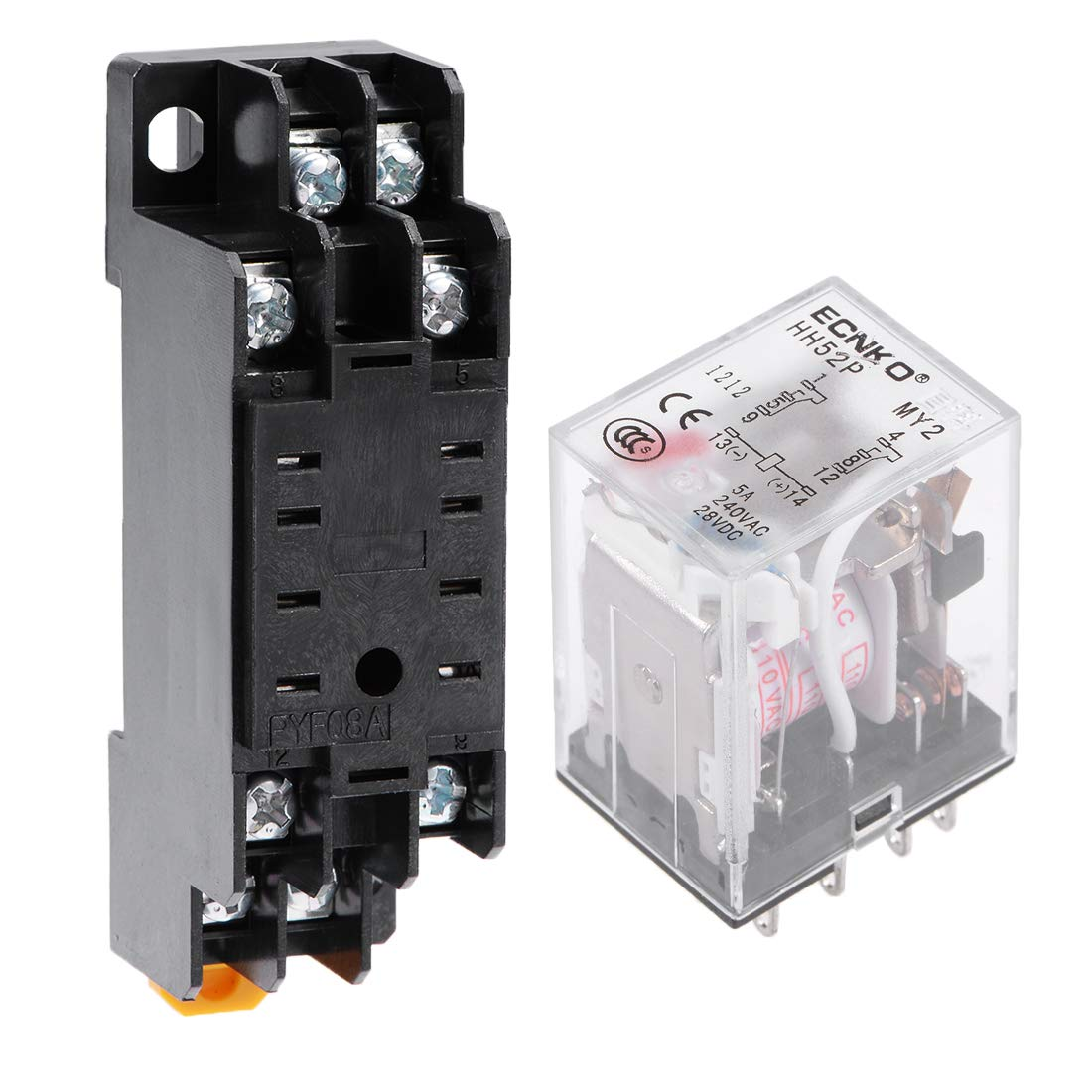 uxcell HH52P AC 110V Coil DPDT 8 Pins Electromagnetic Power Relay Red LED with Scoket