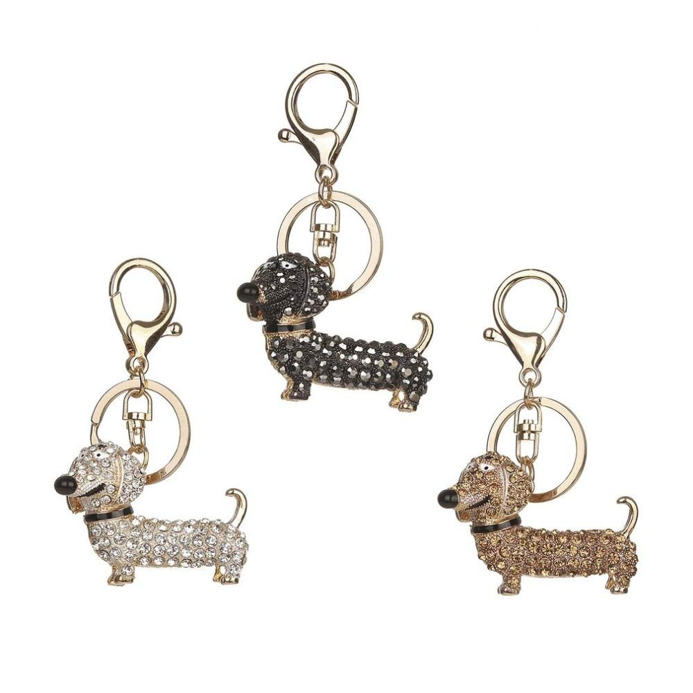 Wall of Dragon Cute Puppy Dog Charm Fashion Keychain Sparkling Crystal Unique Gift and Souvenir Hanging Keys or Automobile Pendants Car Styling by Wall of Dragon (Image #2)