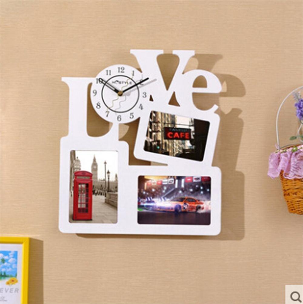 家庭の照明フォトフレーム壁時計ミュートクリエイティブなファッションLOVEの結婚式のお祝いパーソナライズされた装飾的な家の装飾の腕時計 B072K2B96H