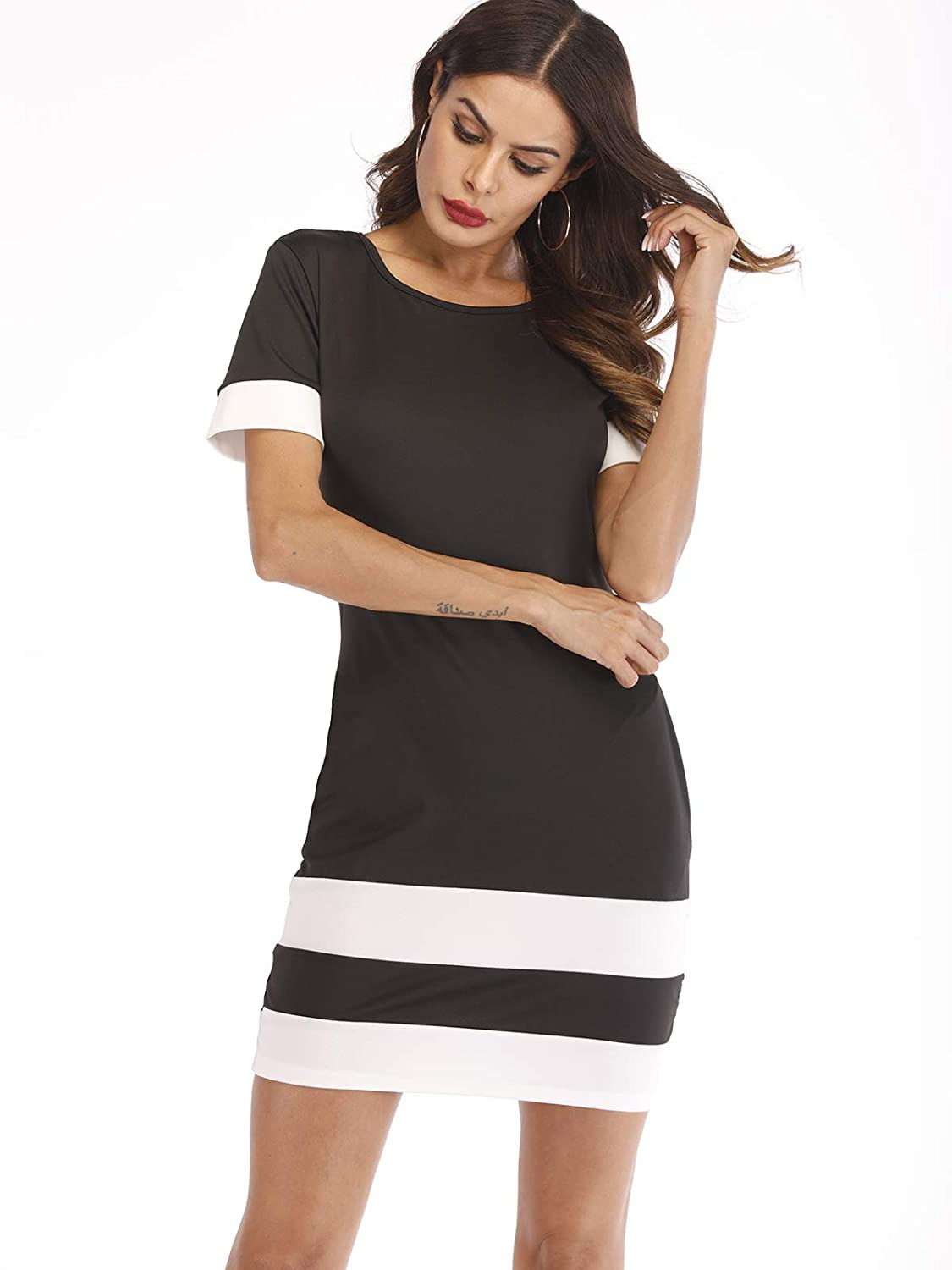 8d51e2c64acc Women s Casual Plain Short Sleeve Elastic Waist Simple T-Shirt Dress  Bodycon Midi Dress with Pocket at Amazon Women s Clothing store