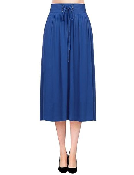 Regna X Boho Women's High Waist Pleated Flare Chiffon Midi Skirt Dress