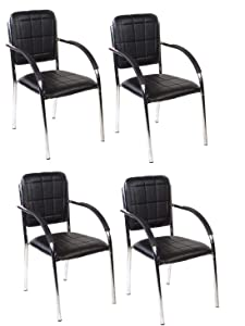 Mezonite Set of 4 Black Leatherette Office Visitor Chair