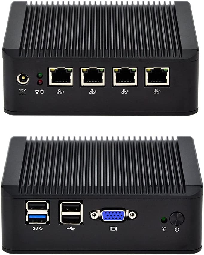 QOTOM Q190G4-S02 Barebone Industrial PC Gateway Router (No RAM No SSD) - Intel J1900 4 Gigabit NICs, Support Freebsd Linux (No RAM, No SSD)