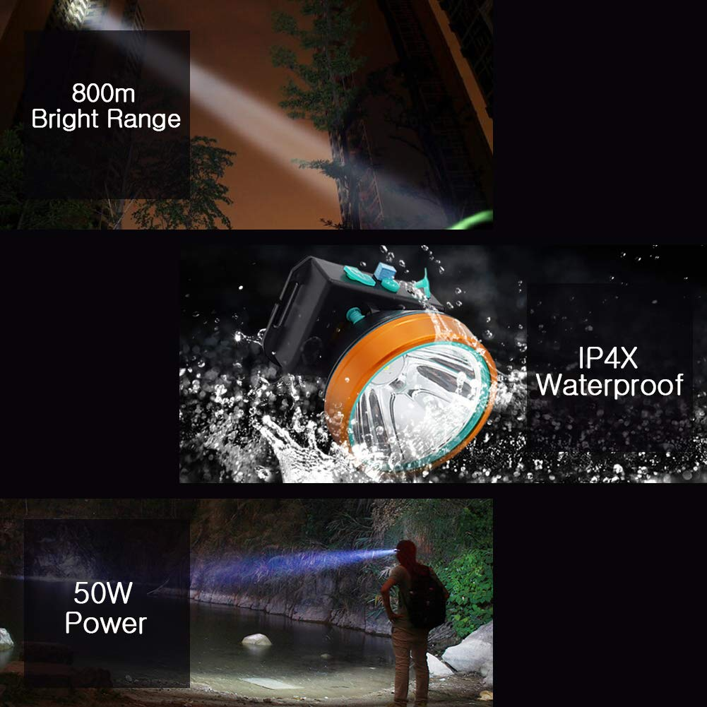 Obvie 50W Led Rechargeable Headlamp Brighter,Farther,Waterproof(2pcs Pack) by Obvie (Image #7)