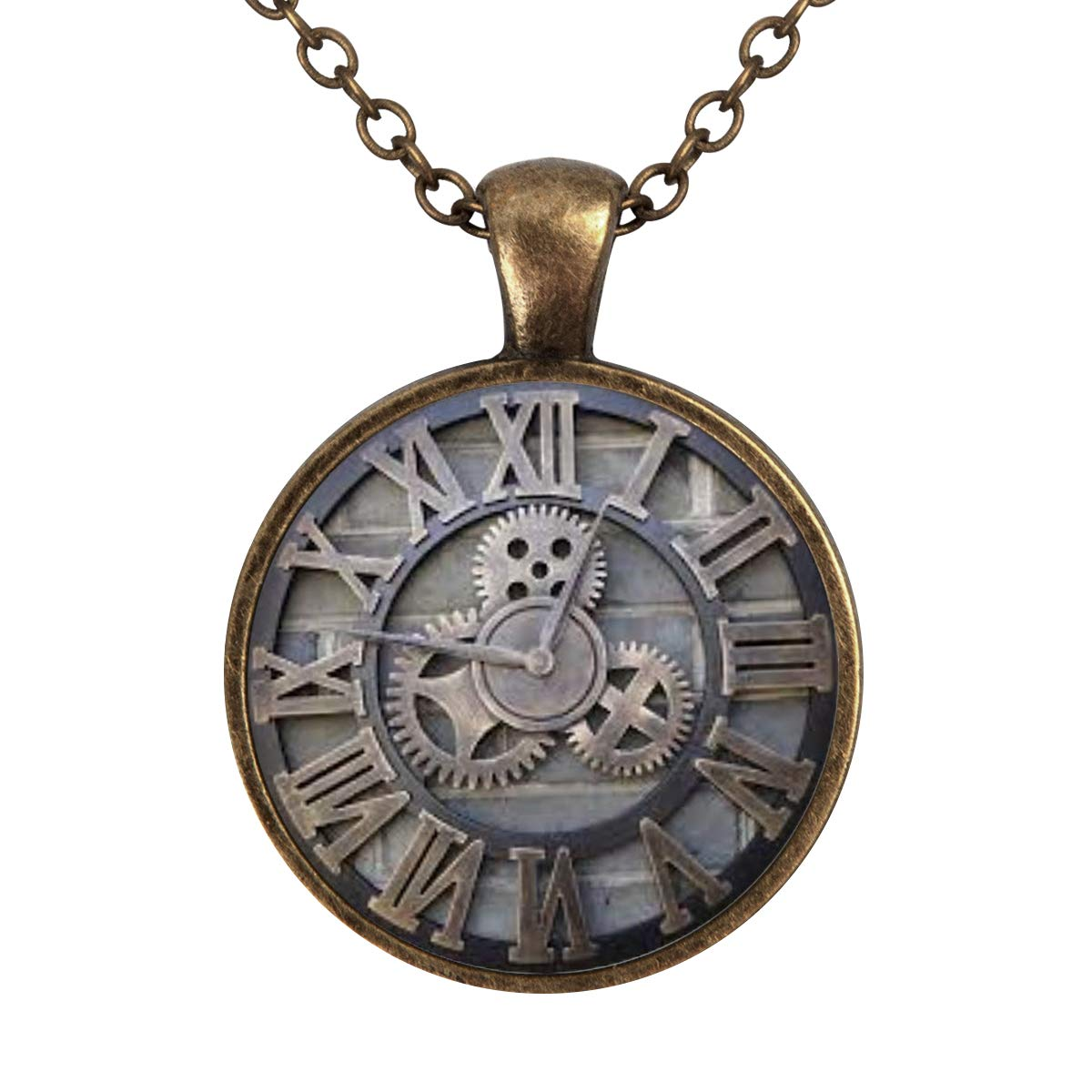 Family Decor Retro Gear Clock Pendant Necklace Cabochon Glass Vintage Bronze Chain Necklace Jewelry Handmade