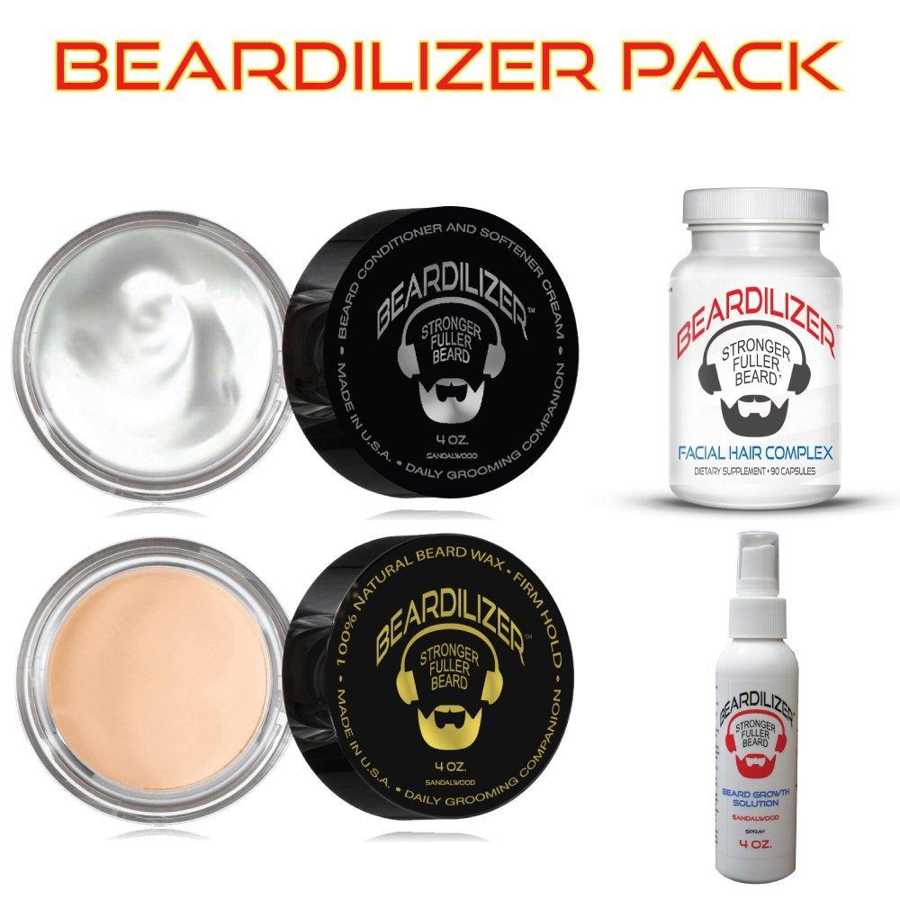 Beardilizer ® Value Pack: Dietary Supplement 90 Caps + Beard Growth Spray 4 Oz + Beard Growth Conditioner And Softener Cream 4 oz + All Natural Beard Wax 4 oz