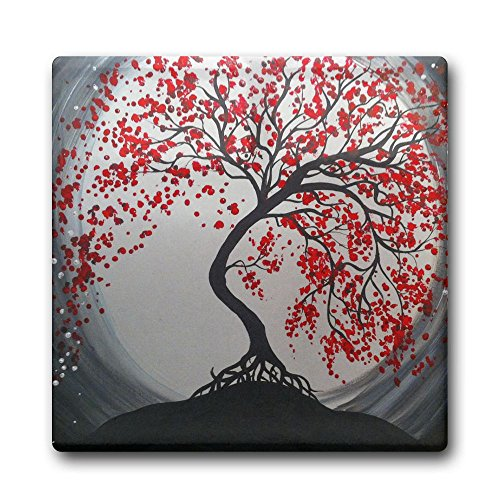 Creative Moon And Red Trees Design Square Coasters Cork Ceramic Coasters For Kitchen Dining Bar Office Home - Mo With Branson Kids
