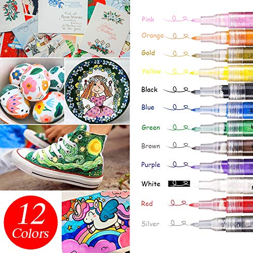 Acrylic Paint Marker Set of 12 Colors Permanent Water Based Paint Pen for Rocks Painting, Ceramic, Glass, Wood, Fabric, Canvas, Mugs,Photo Album, DIY Craft, Scrapbooking Craft (Fine Point Tip 0. 7mm)