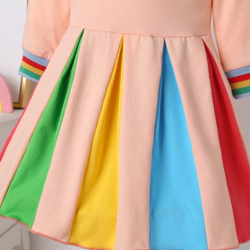 Decdeal M/ädchen Regenbogenkleid mit Exquisiter Stickerei Baby Regenbogen Kleid Party Hochzeit Prinzessin Kost/üm aus Baumwolle