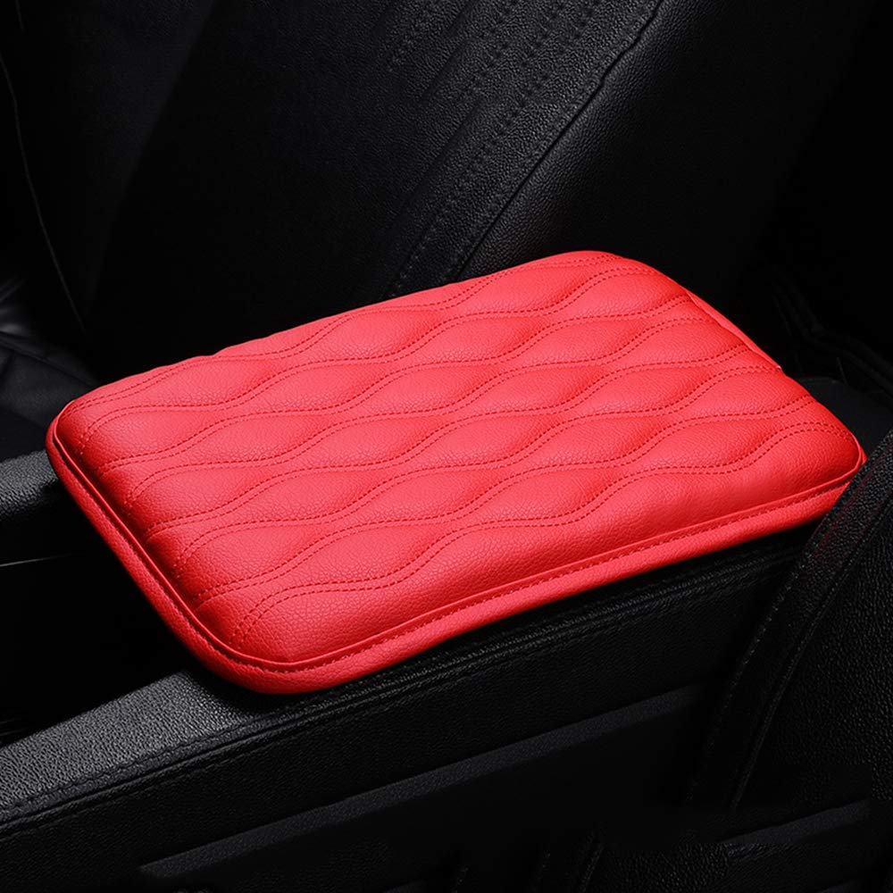 Dotesy Auto Center Console Cover Armrest Pads, PU Leather Universal Car Center Console Box Arm Rest Pads Cushion Protector (Red) by Dotesy