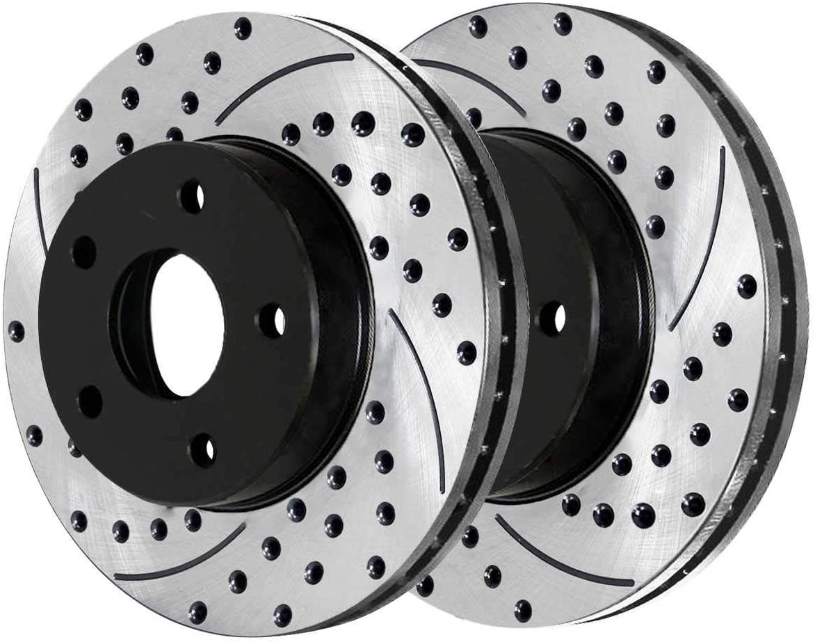 AutoShack PR65082LR Front Drilled and Slotted Brake Rotor Pair