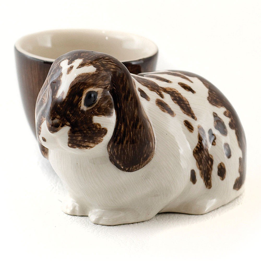 Brown and White Quail Ceramics Lop Rabbit with Egg Cup
