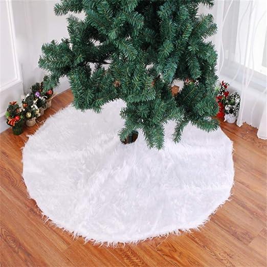 CHUAGNQI Navidad Falda del árbol de Felpa de Color Blanco Puro ...