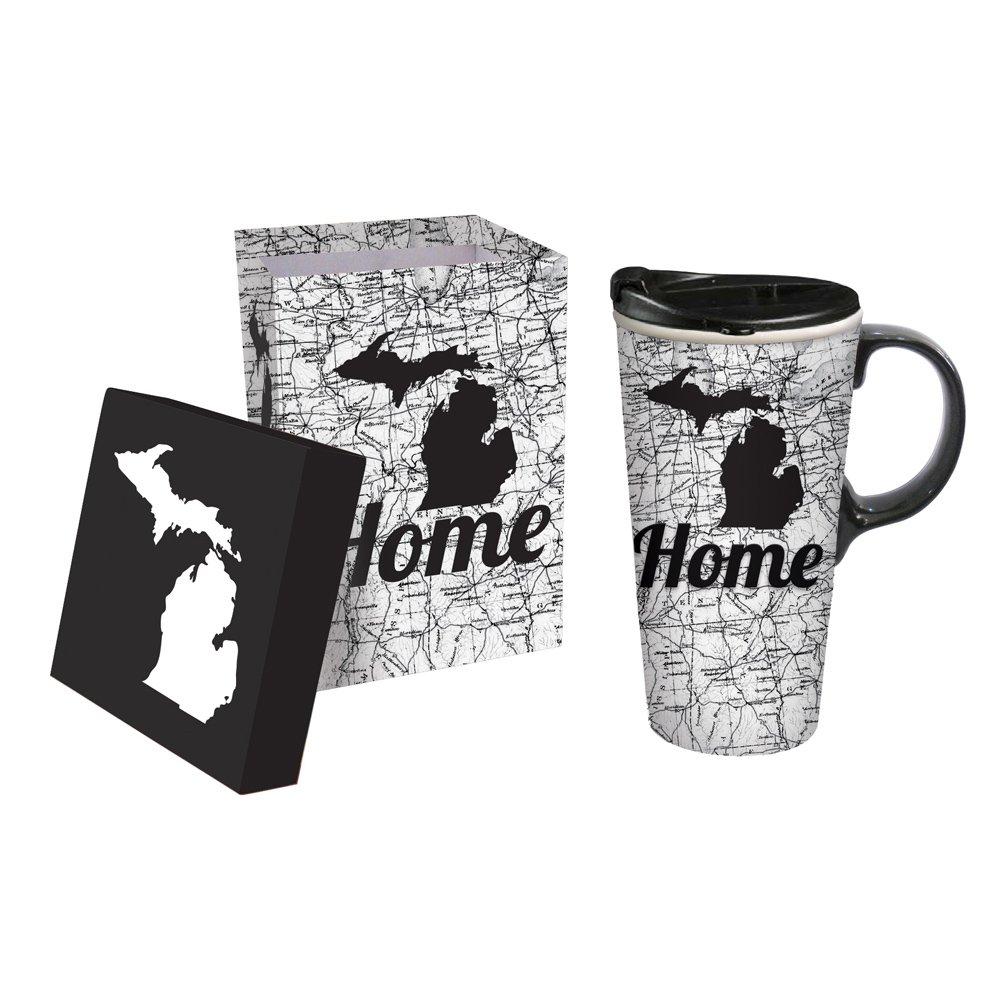 Cypress Home Michigan Ceramic Travel Coffee Mug, 17 ounces