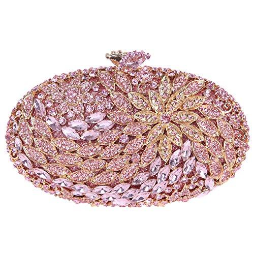Clutch Floral Bonjanvye with Rhinestone Round for Shape Women Purses Crystal Pink qtpFgp