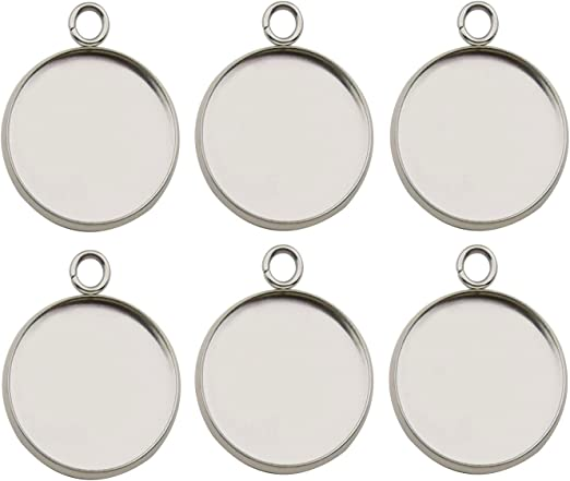 5 Round Silver Plated Cabochon Frame Settings Pendants Crafts Fit 20mm 013