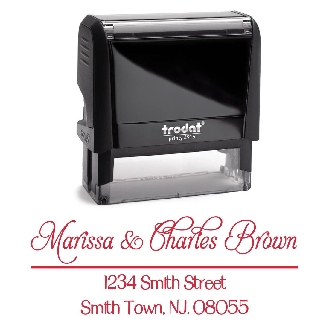 Red Ink, Personalized Custom Self Inking Return Address Stamp – Business Office Mail Stampers – Brilliant Gift for Real Estate Clients, Newlyweds, Family, Wedding or Housewarming