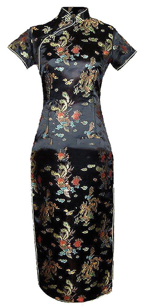 7Fairy Women's Vtg Black Long Chinese Evening Prom Dress Cheongsam 1100307