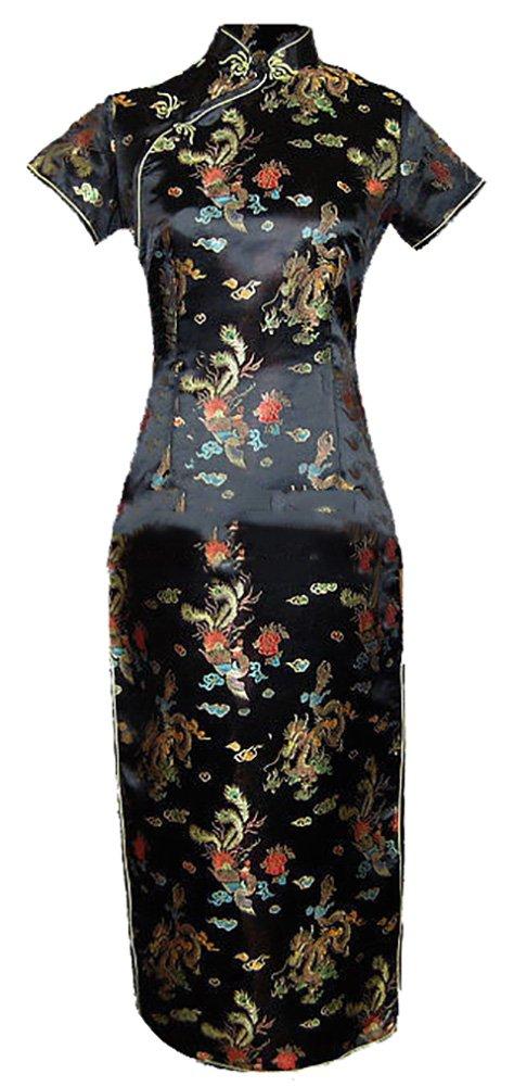 7Fairy Women's VTG Black Long Chinese Evening Prom Dress Cheongsam Size 14 US
