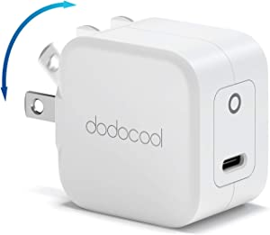 USB C Charger dodocool Type C Wall Charger 20W Mini PD Fast Charger Foldable Plug Power Adapter Compatible with iPhone 12/12 Mini/12 Pro/12 Pro Max iPad AirPods Pro iPad Samsung Google Charger Block