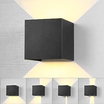 Lightess Lámpara de Pared Exterior Apliques de Pared LED ...
