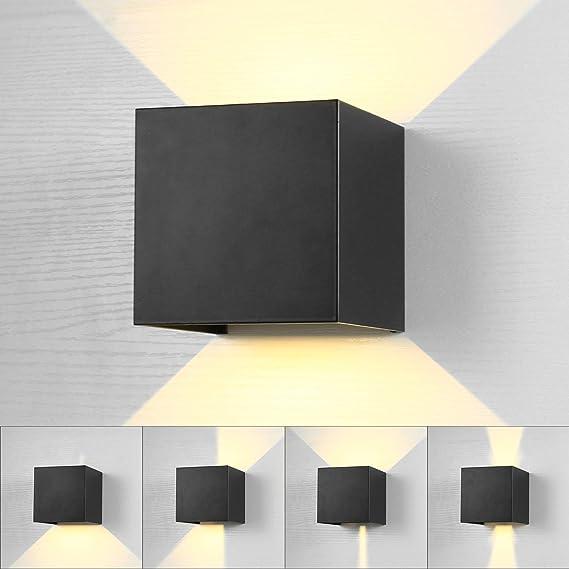 Lightess Lámpara de Pared Exterior Apliques de Pared LED Impermeable IP65 Luz Moderna Ángulo Ajustable 120 Grados Iluminación para Escalera Jardín Camino Patio Dormitorio (negro, blanco cálido): Amazon.es: Iluminación
