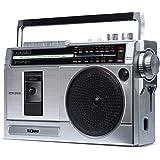 Boombox Portátil Retro Rocker Ion ISP113 – Toca Fita Cassete e Rádio AM/FM com Entradas USB e SD 110V, Prata, ION_
